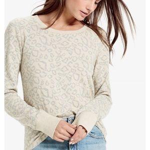 Lucky Brand Cheetah Print Pullover Sweatshirt L